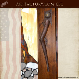 custom aspen branch door pull on craftsman Gamble House door