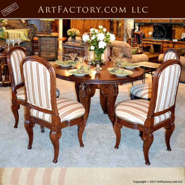 Traditional Cherry Casual Carved Design Dining Room Round: Fine Dining Table Hand Carved Solid Cherry Wood