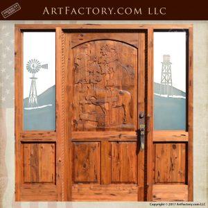 hand carved horse door