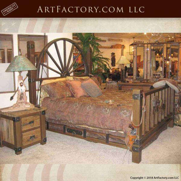 western style wagon wheel bed