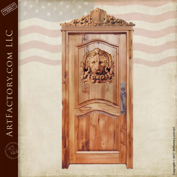 carved lion entrance door