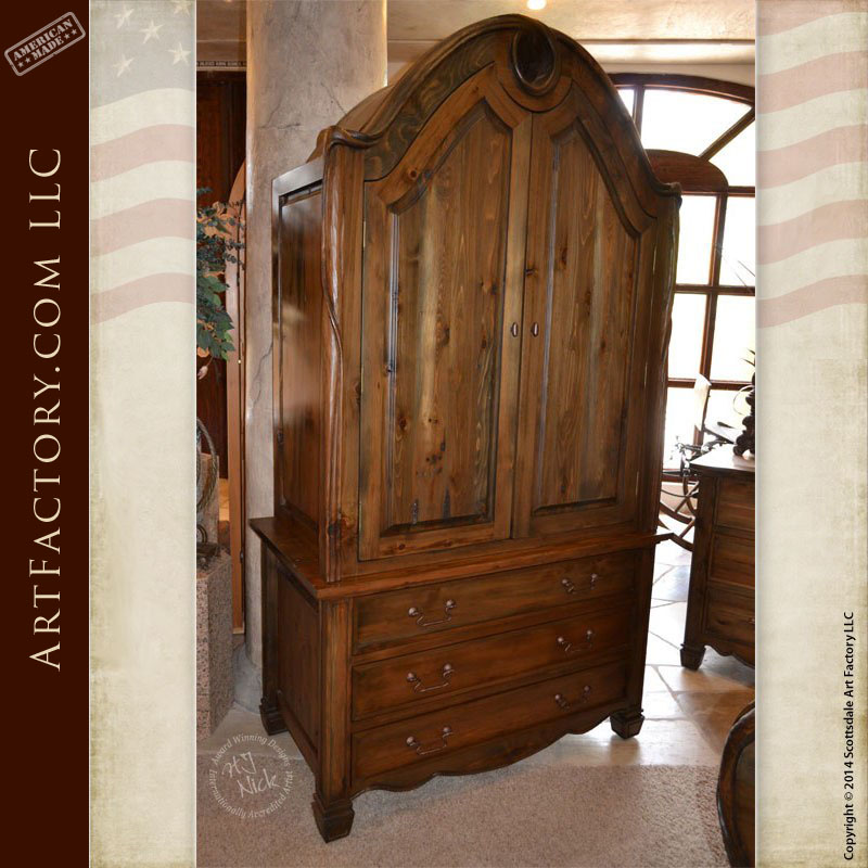 Art Nouveau Style Armoire: Matching Bed And Nightstand