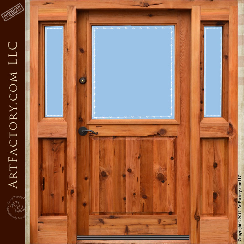 Custom Etched Glass Front Door Solid Wood Entrance With Sidelights