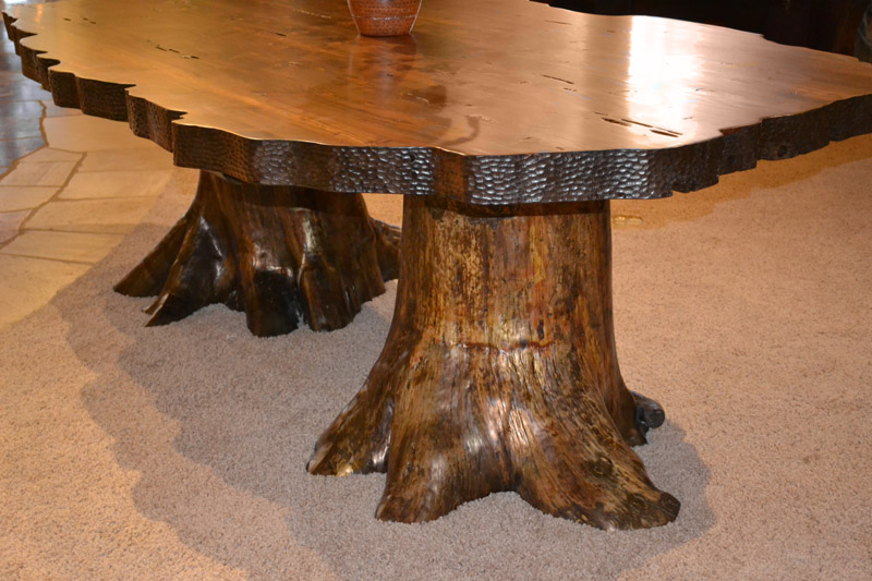 Lodge dining table cabin dining tables rustic dining for Tree root dining table