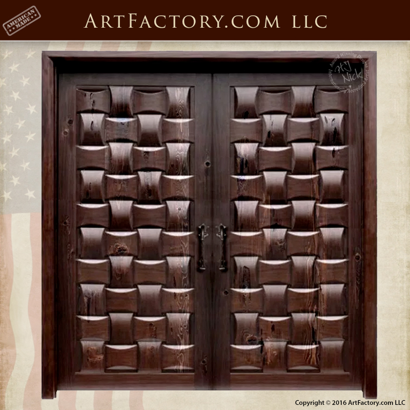Hand Carved Basket Weave Doors Thick Solid Wood Handmade