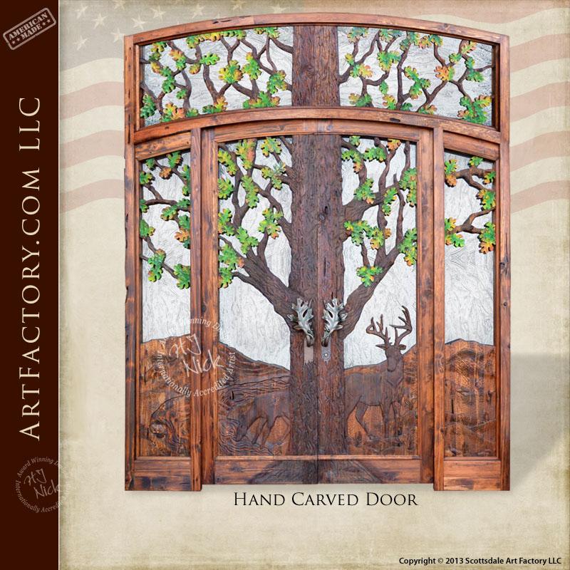 Hand Carved Lodge Doors Custom Fine Art Forest Design