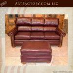 custom wing back leather sofa