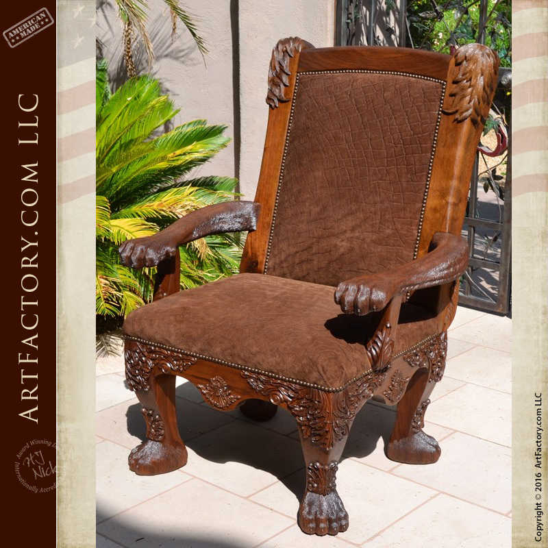 Image of: Safari Style Furniture Inside Hand Carved Lion Safari Chair Hand Carved Lion Safari Chair An Hj Nick Original Fine Art Design