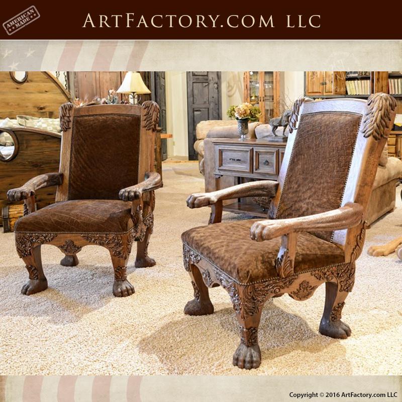 hand carved lion safari chair