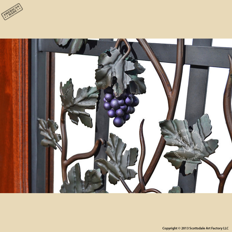 Hand Crafted Decorative Door Iron Grape Vine Design