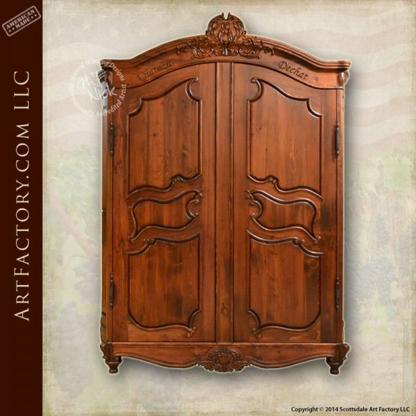 hand carved French inspired armoire