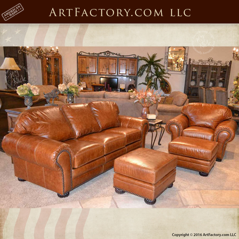 Unique Leather Sofas: Traditional Custom Leather Sofa And Chair Set