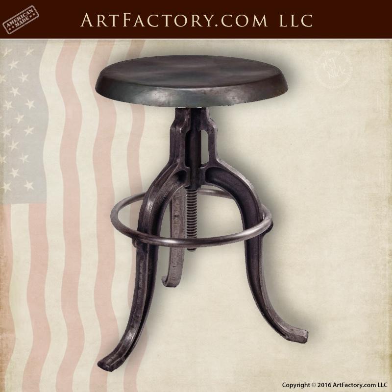 Surprising Industrial Iron Bar Stool Wrought Iron Adjustable Swivel Top Beatyapartments Chair Design Images Beatyapartmentscom