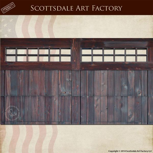 Double Designer Wood Garage Door Custom Iron Hardware