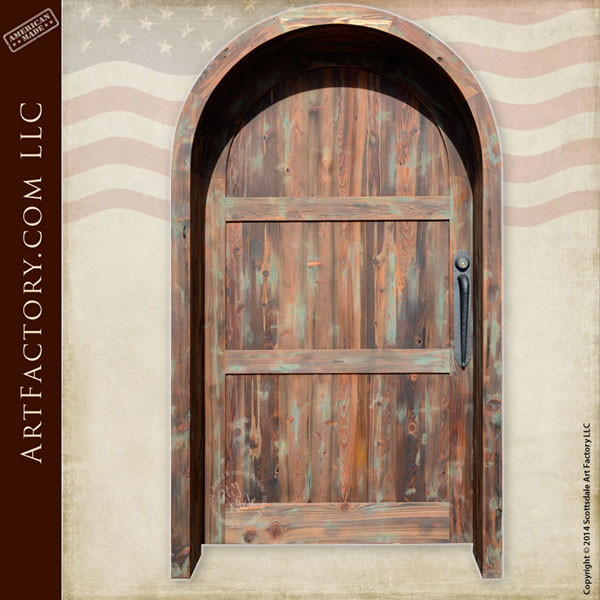 vertical plank arched front door