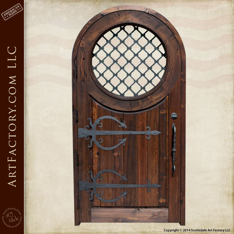 Arched Wooden Medieval Door Blacksmith Hand Forged Security Grill