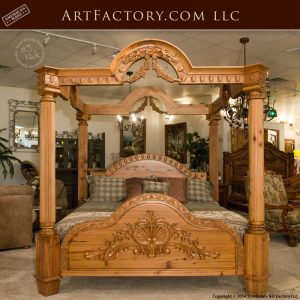 Custom Hand Carved Canopy Bed