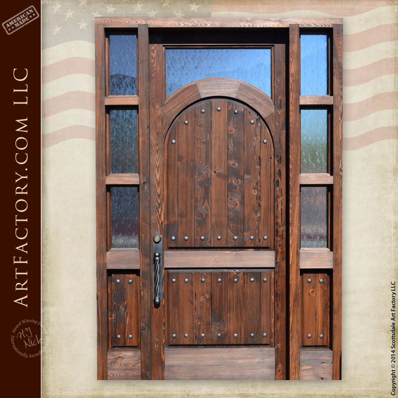 Rustic Arched Grand Entrance Door With Transom And Sidelights