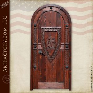 family crest hand carved door
