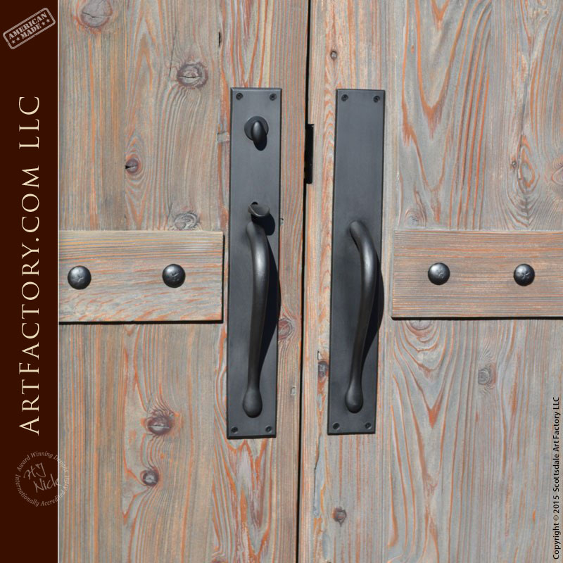Custom Western Style Double Doors With Hand Forged Hardware