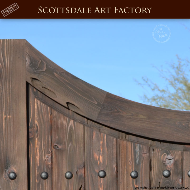 Double Inverted Arch Entrance Gate Thick Custom Wood Gates