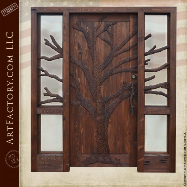 hand carved oak tree front door