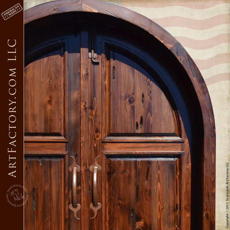 Solid Wood Arched Double Doors Handcrafted In The Usa