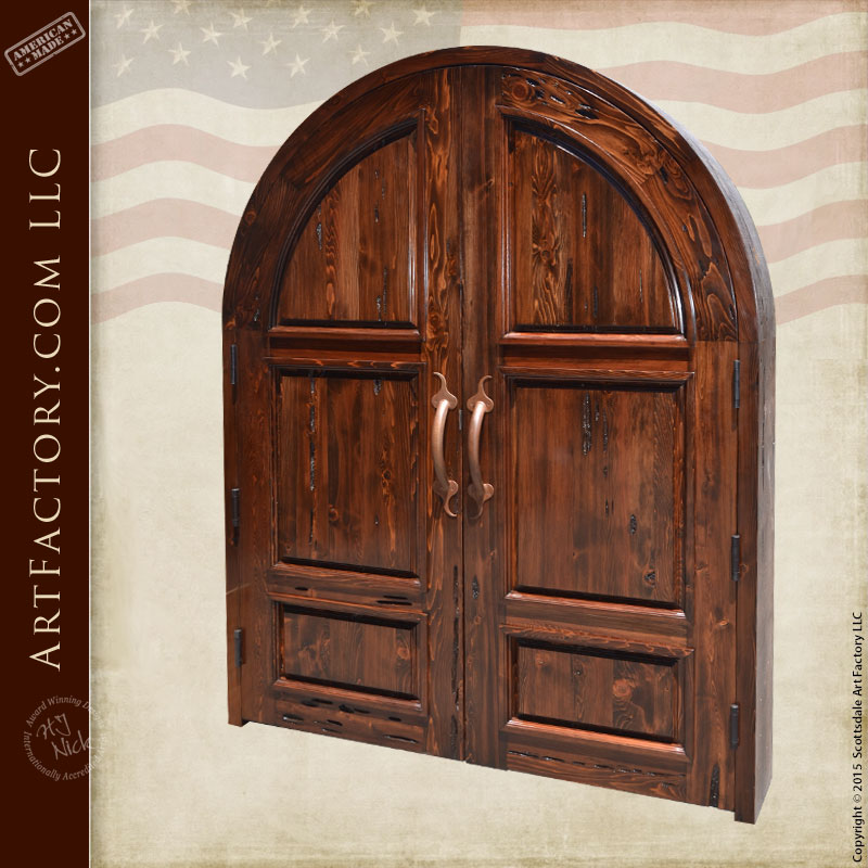 Solid Wood Arched Double Doors: Handcrafted In The USA