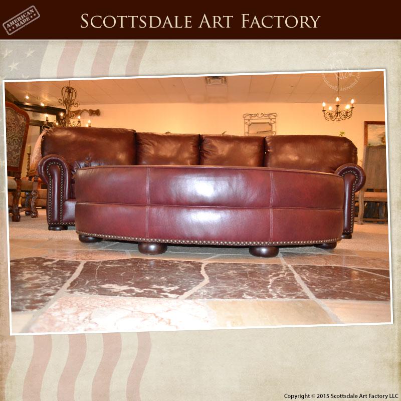 Curved Four Section Leather Sofa Matching Oval Ottoman