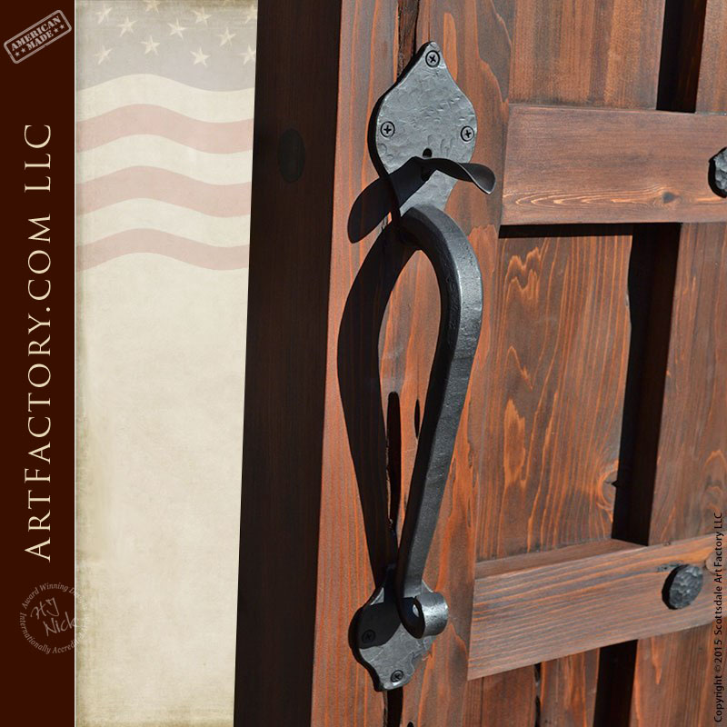 Custom Lever Latch Door Handle Hand Forged Wrought Iron