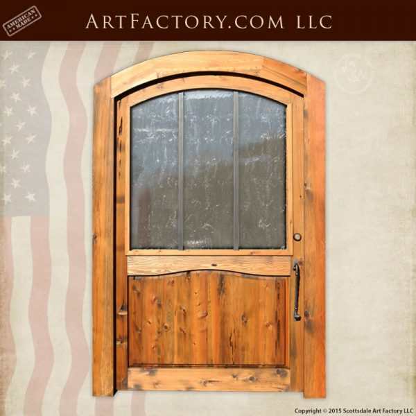 eyebrow arched glass panel door