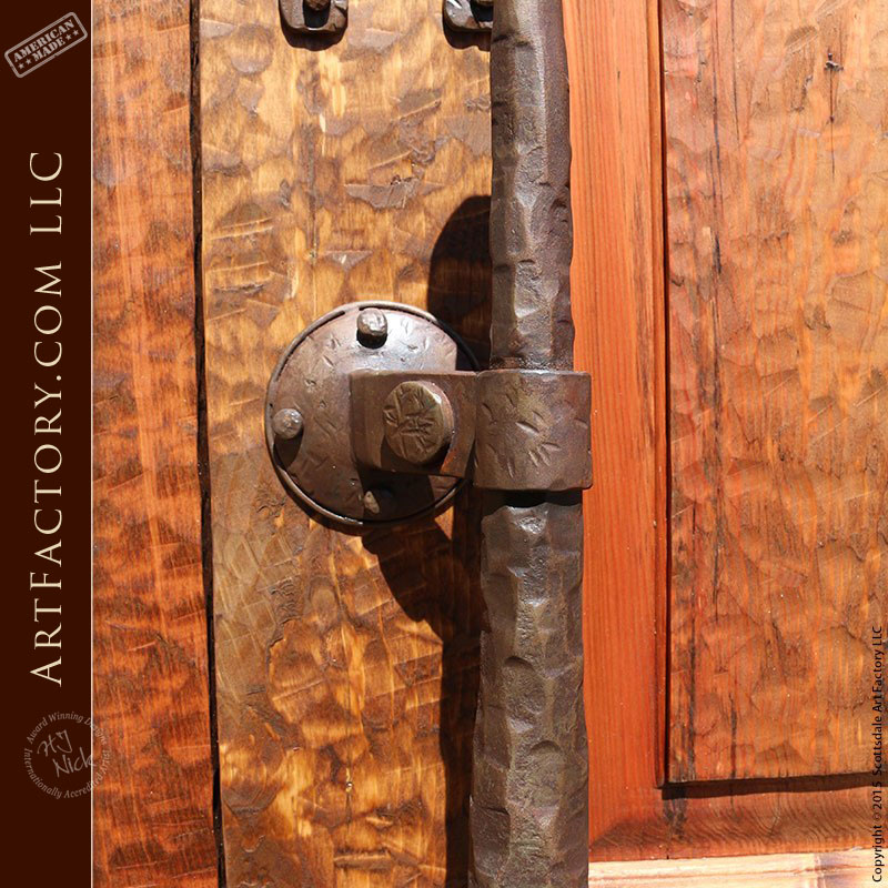 Medieval Style Arched Door With Custom Hand Forged Hardware