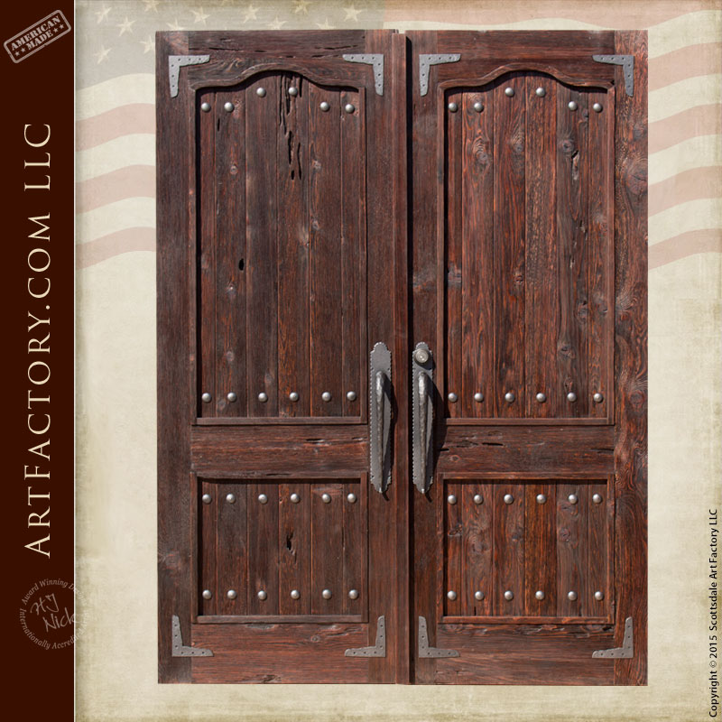 weathered raised grain wood double doors