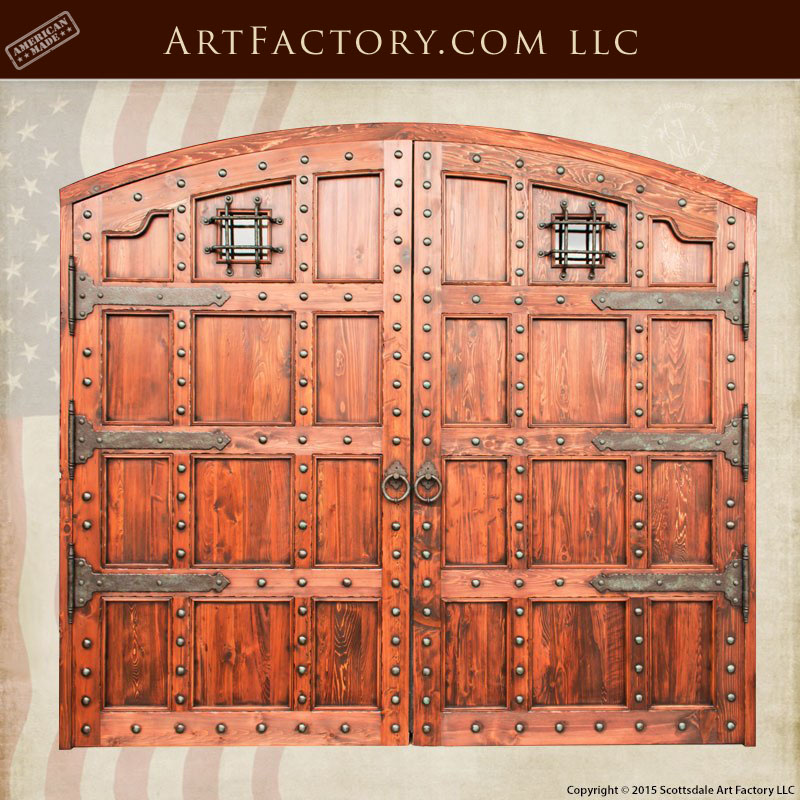 Custom Castle Entrance Doors Iron Speakeasy Grill Amp Strap