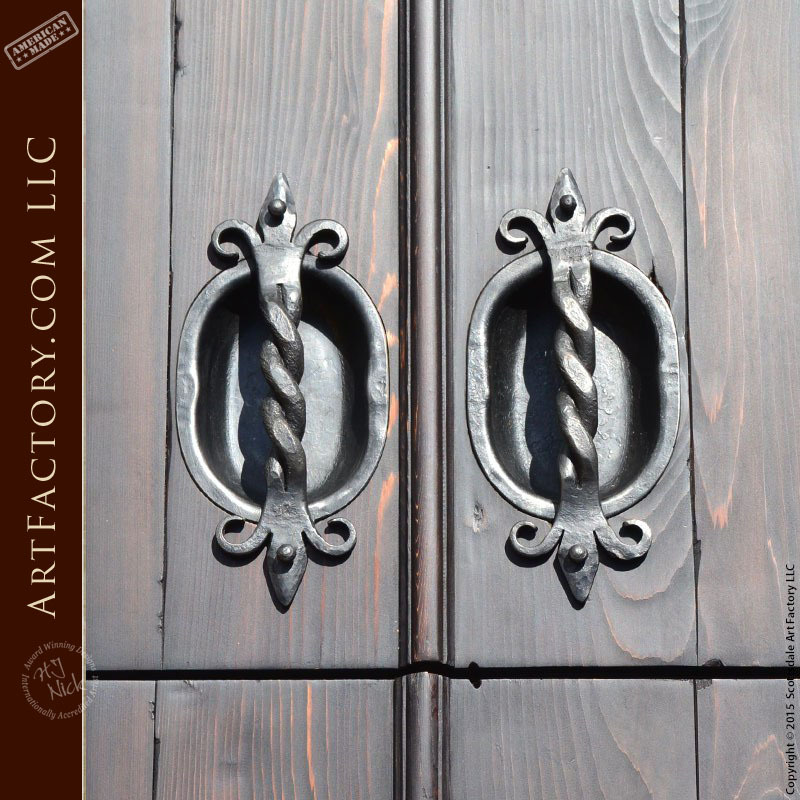 decorative hand forged door pulls