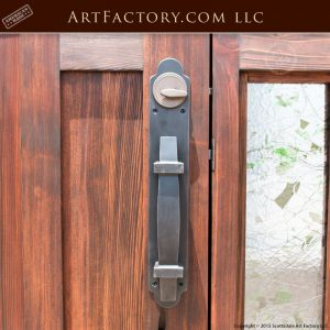 stained glass grand entrance door with English lodge style door pull