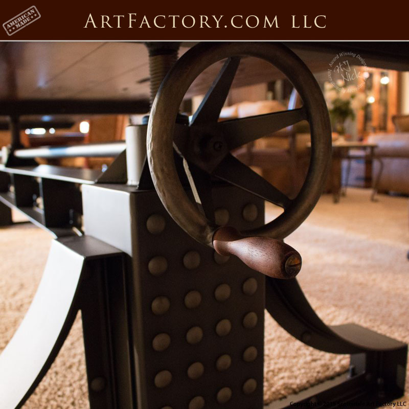 Custom Industrial Crank Table Handmade By Master Craftsmen