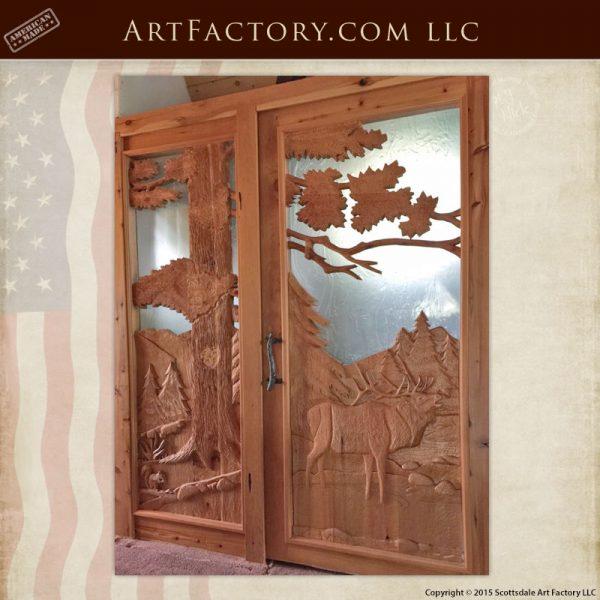 elk hand carved front door