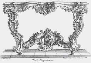 Side table design by Juste-Aurèle Meissonnier (about 1739)