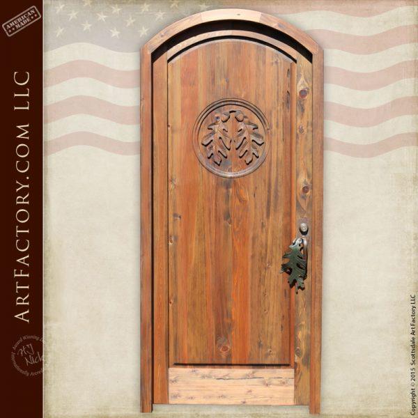 oak leaf hand carved door