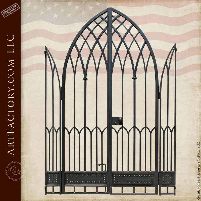 Gothic Style Iron Gate Custom Hand Forged Wrought Iron Gates