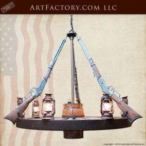 wagon wheel rifle chandelier