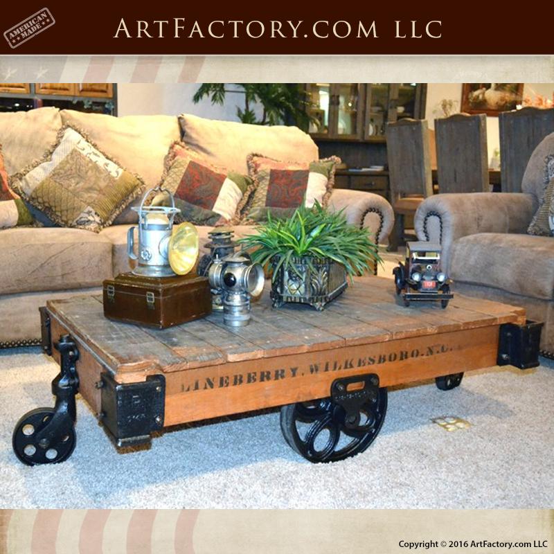 Antique Coffee Table Cart Fine Art Handmade Furniture Afc648