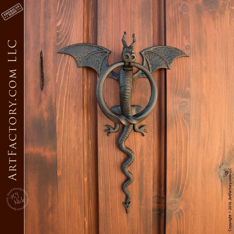 Arched entry door with iron dragon knocker custom doors - Dragon door knockers ...