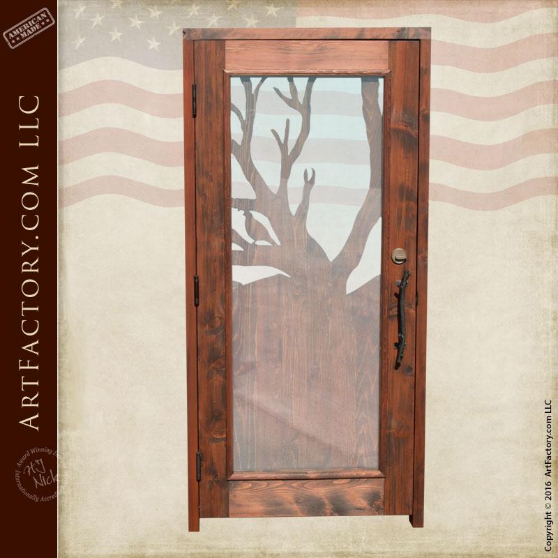 Entrance Door With Custom Hand Carved Desert Quail Door