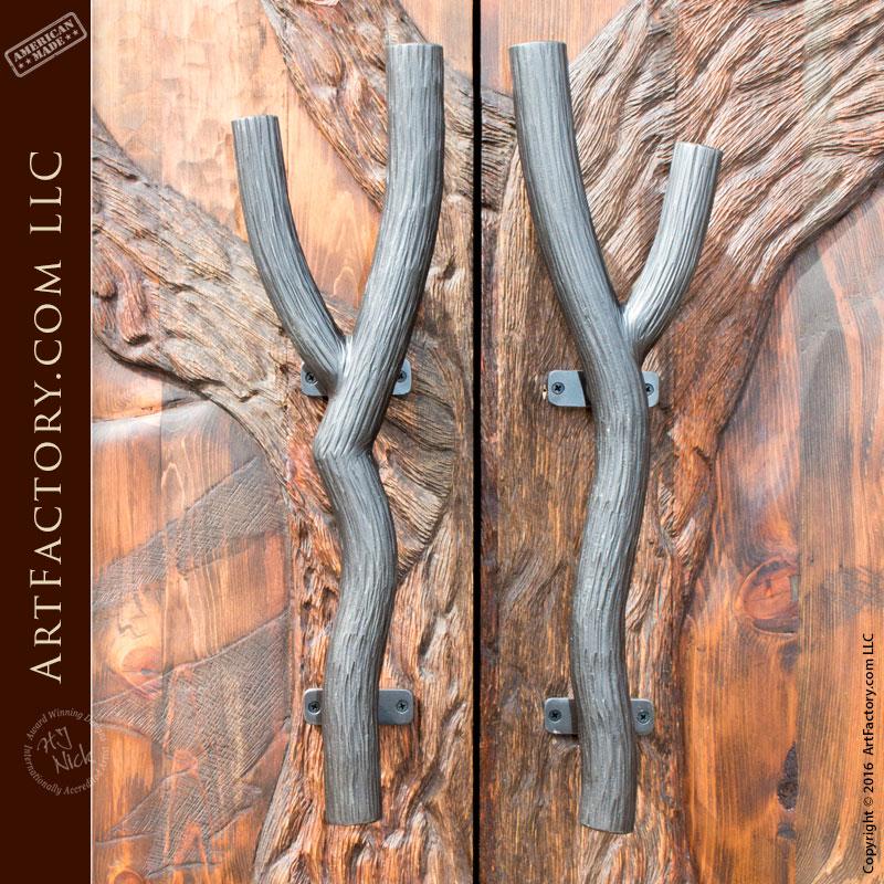 winter tree hand carved double doors
