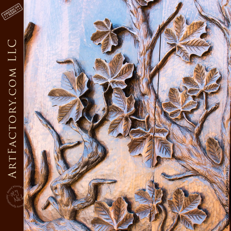 Master Hand Carved Tree Of Life Solid Wood Door Iron