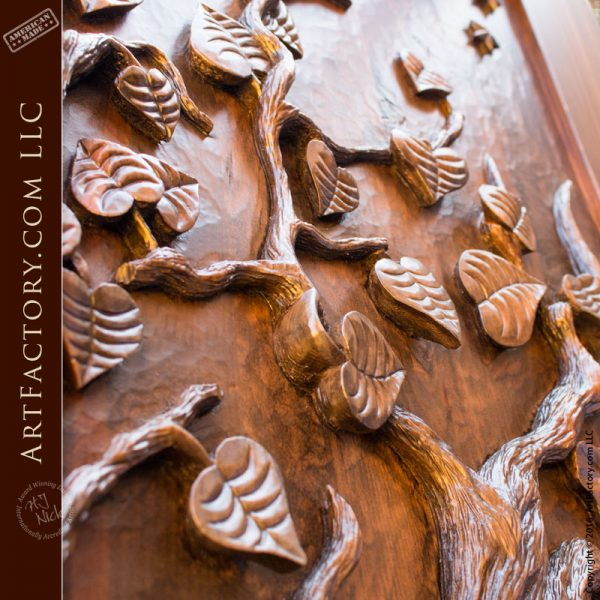 Tree Of Life Fireplace Surround: Hand Carved Wooden Door, Spectacular Tree Of Life