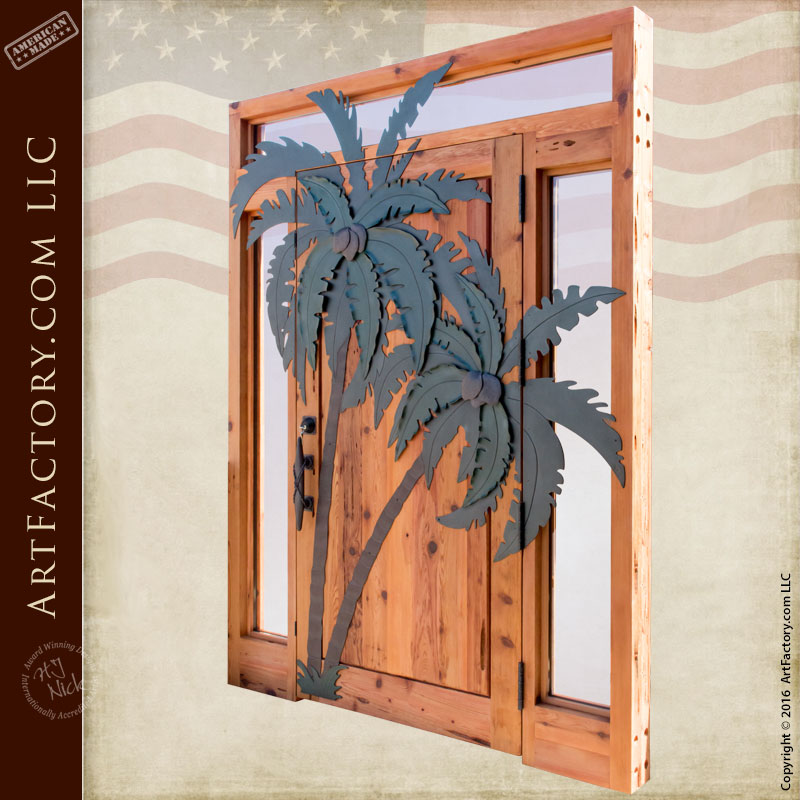 Custom Door Entrance Palm Tree Overlay Transom And