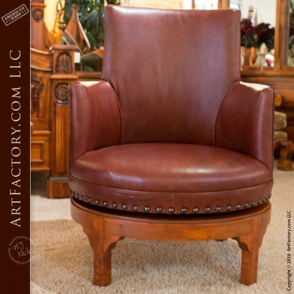 Custom Fine Leather Swivel Chair 18th Century Design